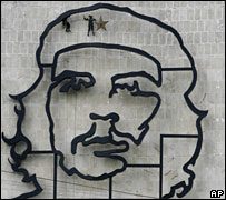 An image of Che Guevara in Revolution Square, Havana