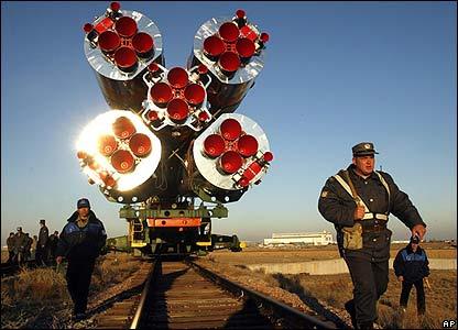 Russian Soyuz TMA-11 is transported to the Baikonur cosmodrome, Kazakhstan