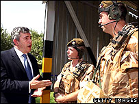 Gordon Brown talks to British soldiers in Baghdad.