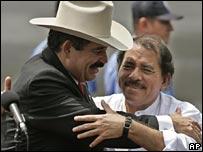 Honduran President Manuel Zelaya (left) and Nicaragua's Daniel Ortega