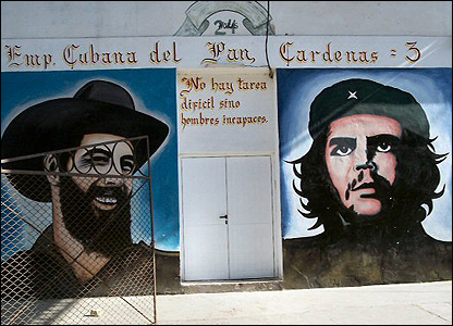 Che Guevara and Fidel Castro in the Cuban town of Cardenas