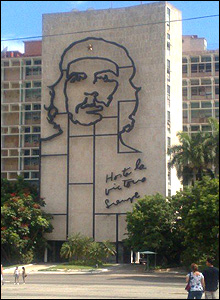 Outline sculpture on the side of a government building in central Havana.