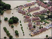 A flooded village near Sheffield, South Yorkshire