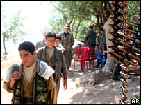 PKK fighters near in northern Iraq near the Turkish border, 21 July 2007