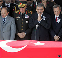 Turkish officials at the funeral of a soldier killed in clashes with the PKK in September 2007