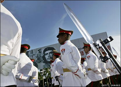 Honour guards attend a commemoration for Che Guevara in Santa Clara, Cuba