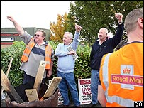 Striking postal workers in Gateshead