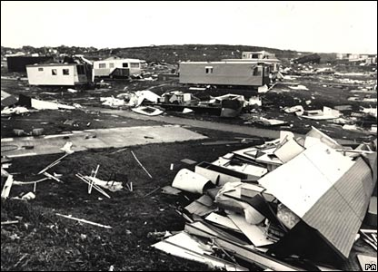 A caravan site resembled little more than a rubbish tip at Peacehaven, Sussex