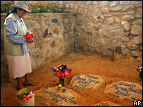 A woman visits the Che Guevara's mausoleum in La Higuera, Bolivia
