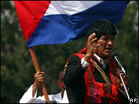 The Bolivian President, Evo Morales, speaks at an event remembering Che Guevara in Vallegrande, Bolivia