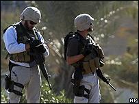 Guardias de una empresa de seguridad privada en Irak