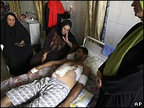 Injured Iraqi being treated after Blackwater shootings