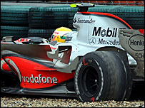 Lewis Hamilton's McLaren in the gravel at the Chinese Grand Prix