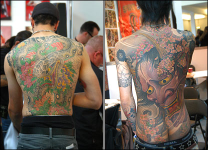 Men with Japanese-style tattoos. Japan has been a massive influence on