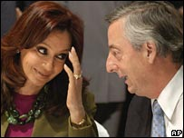 President Nestor Kirchner and his wife Cristina