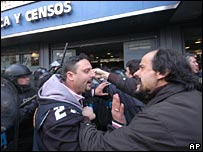 INDEC workers protest outside their offices in Buenos Aires
