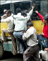 An overcrowded bus in Delhi