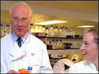 Sir Martin Evans with research associate Kirsty Greenow
