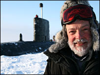 Peter Wadhams next to HMS Tireless