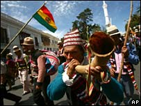 Quechua indigenous demonstration in Sucre on 10 September