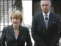 Home Secretary Jacqui Smith with terrorism minister Lord West
