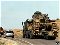 Turkish tanks head for the Iraqi border