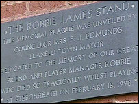 Plaque for Robbie James at Llanelli AFC