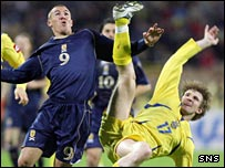 Kenny Miller during Scotland's 2-0 defeat in Ukraine