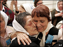Members of the Mothers of the Plaza de Mayo celebrate the conviction of Christian Von Wernich