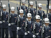 Taiwanese troops marching in the parade in Taipei