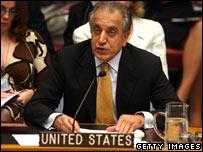 US diplomat Zalmay Khalilzad speaking at a Security Council meeting, 05/10
