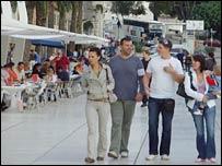 Split street scene