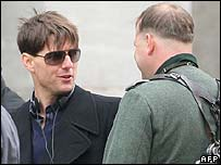 Tom Cruise (l) on the Valkyrie set