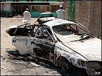 Damaged car in Dagan, 30km (18 miles) west of Miranshah