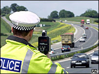 Police officer holding a speed gun