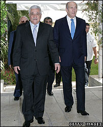 Palestinian authority leader and Israeli PM Ehud Olmert