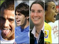 De izquierda a derecha: Cannavaro, Kak�, Prinz y Marta