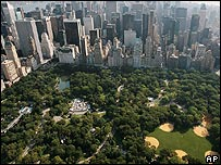 Aerial view of Central Park in Manhattan