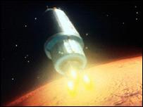Рисунок, на котором изображен отлет космического корабля с Марса