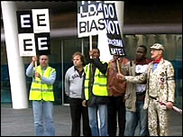 Members of the London Cab Drivers' Club protesting