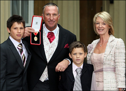 Former cricketer Ian Botham and his family