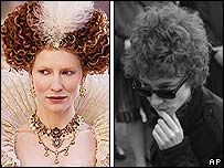 Cate Blanchett in Elizabeth: The Golden Age (l) and I'm Not There (r)