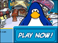 Club Penguin start page, Club Penguin