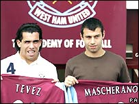 Former West Ham players Tevez and Mascherano