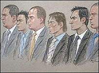The defendants (l to r): Mr Rodgers, Fergal Lynch, Shaun Lynch, Mr Fallon, Mr Williams and Mr Sherkle