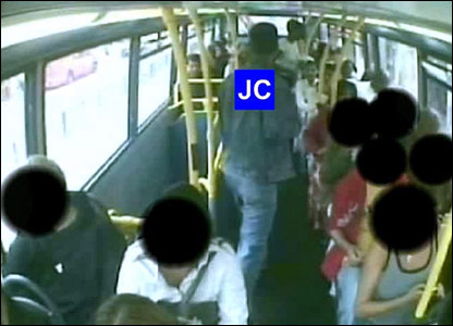 Jean Charles de Menezes on a bus