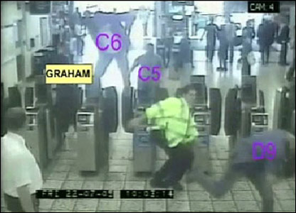Undercover officers jumping over barriers at Stockwell Tube station