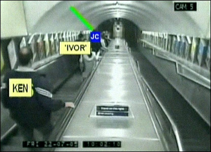 Jean Charles de Menezes on an escalator, followed by undercover officers
