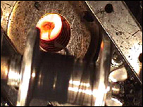 Carbon nanotube fibre being wound. Image courtesy of Alan Windle/University of Cambridge.