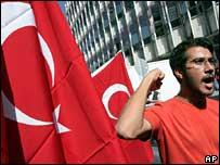 Protester outside US embassy in Ankara